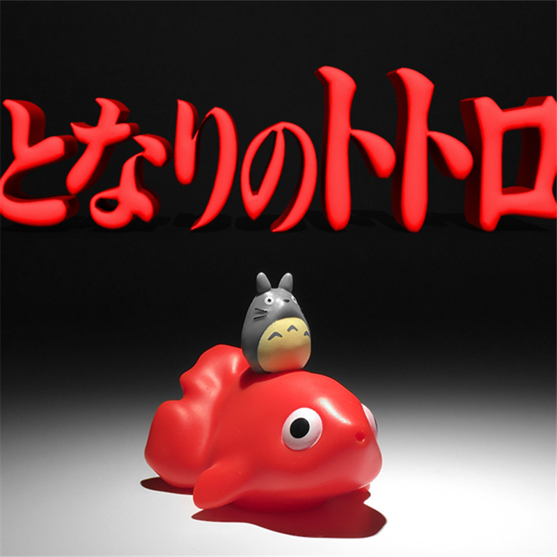 24piece 5cm Totoro Sitting On Goldfish Action Figure Toys Squirt Toy Bath Toys For Kids