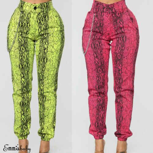 Для женщин змея Slim Fit джинсы для дамы эластичный облегающие Джеггинсы брюки девочек брюки Леггинсы Новые Летние Стильные повседневные