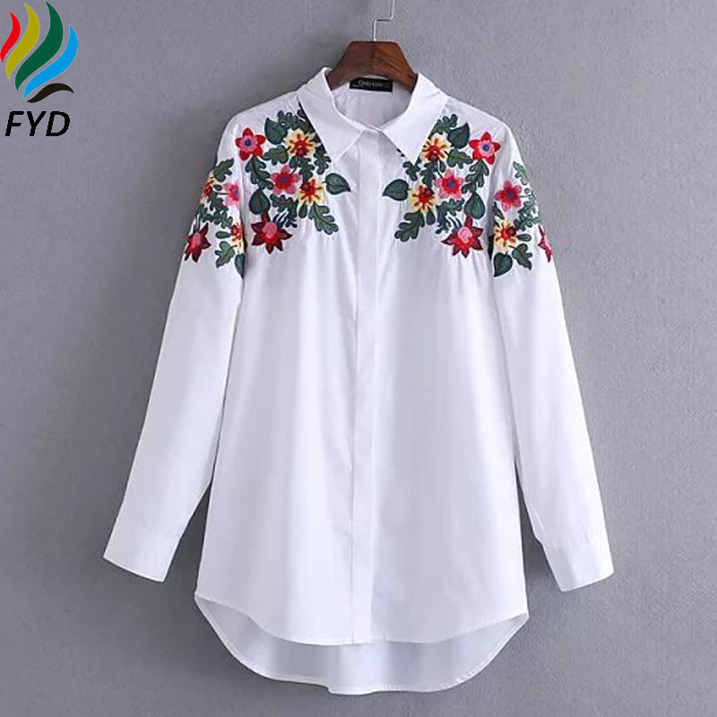 Floral Embroidered Blouse Shirt Women Slim White Tops