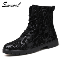 2017 Outdoor Man Casual Shoes Man Boots Sequins Leather Lace Up Warm Winter Working Boots Comfort