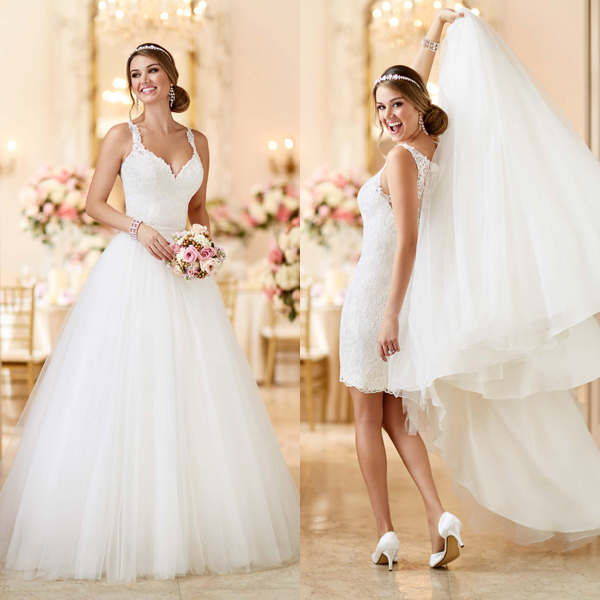 Removable Wedding Gown Dress: Two 2 Piece Wedding Dresses 2 Em 1 Removable Skirt Hippie