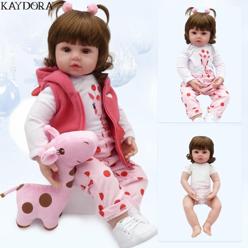 KAYDORA 47 см 55 см мягкого силикона для новорожденных, для девочек куклы Реалистичная для малышей и новорожденных куклы модные игрушки для девоч...
