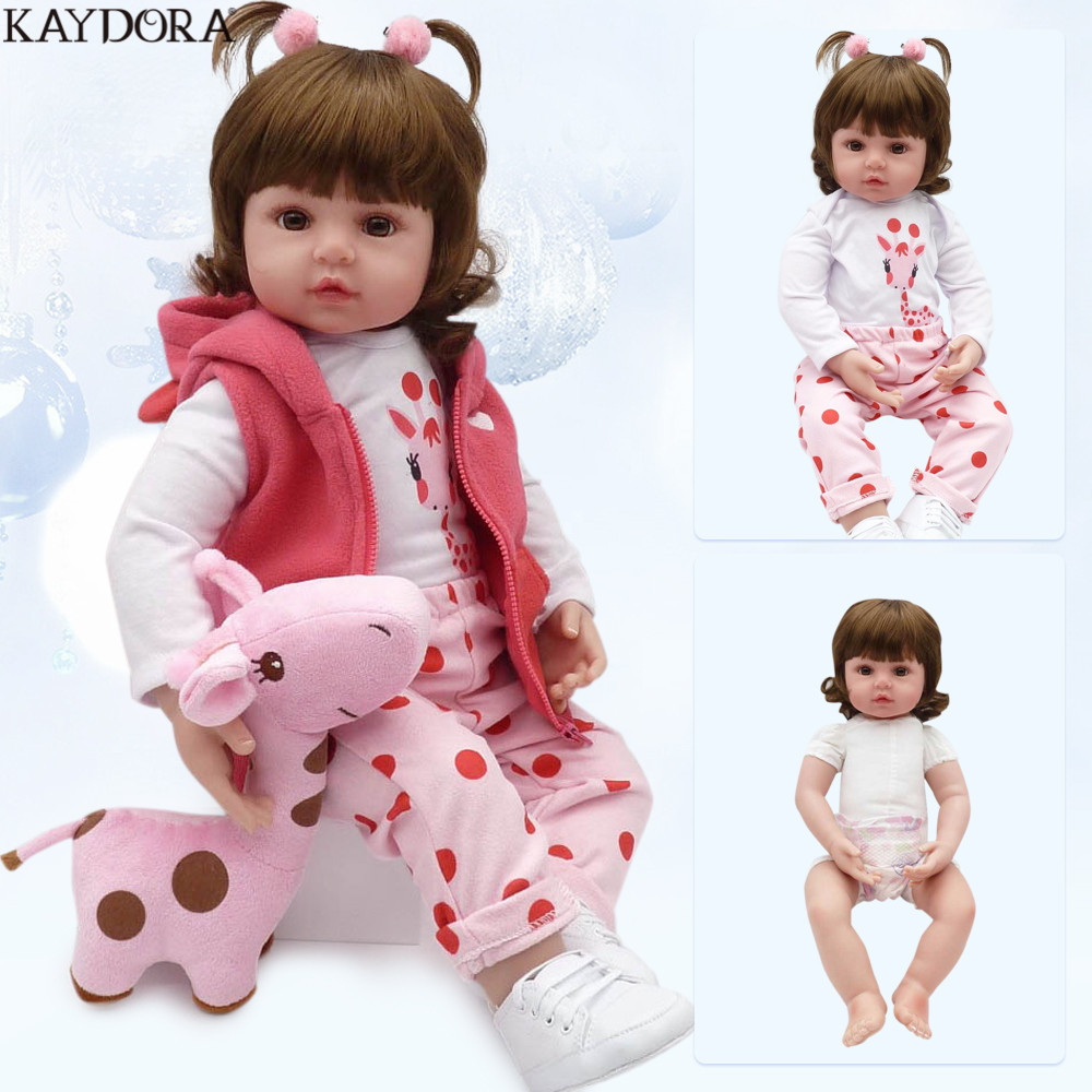 KAYDORA 47 cm 55 cm Silicone souple Reborn bébé fille poupée réaliste Bebe Reborn poupées mode jouets pour filles bebe reborn menina