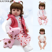 KAYDORA 47cm 55cm Soft Silicone Reborn Baby Girl Doll Realistic Bebe Dolls Fashion Toys For Girls bebe reborn menina