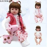 KAYDORA 47cm 55cm Soft Silicone Reborn Baby Girl Doll Realistic Bebe Reborn Dolls Fashion Toys For Girls Birthday Christmas Gift