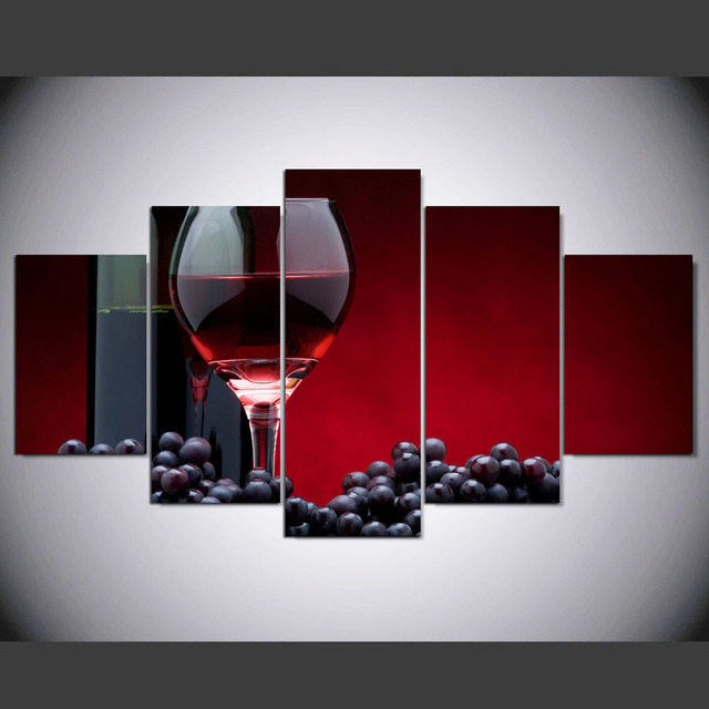 DAFENJINGMO ARTS 5 Pieces Red wine Canvas Wall Art Paintings Picture Print on Canvas for Home & DAFENJINGMO ARTS 5 Pieces Red wine Canvas Wall Art Paintings Picture ...