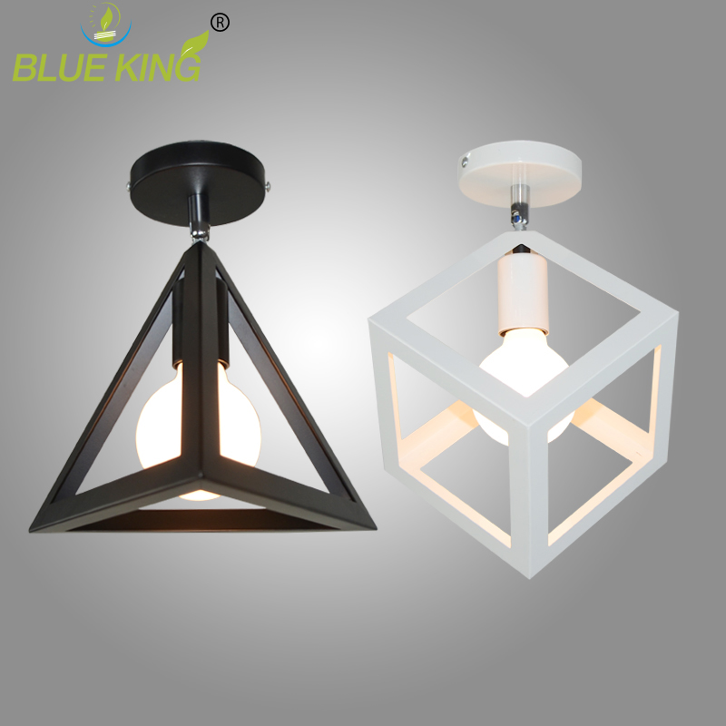 Vintage Industrial Ceiling Lights Loft metal Geometry Black E27 Edison LED Bulb Lustres Ceiling Lamp Fixture For Foyer balcony charming long synthetic black ombre red straight women s lace front wig