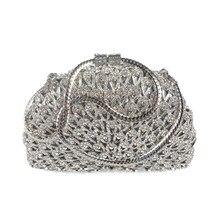 2016 neue Silber Tasche Handgefertigt Luxus Kristall Strass Handtasche Diamant Tag Partei Bankett Kupplung