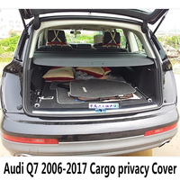For Audi Q7 2006 2017 Rear Cargo privacy Cover Trunk Screen Security Shield shade (Black, beige)