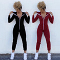 Women Spring Autumn Rompers Jumpsuit 2017 Long Sleeve Zipper Hooded Sexy Bodycon Club Playsuit Overalls Bandage Outfits