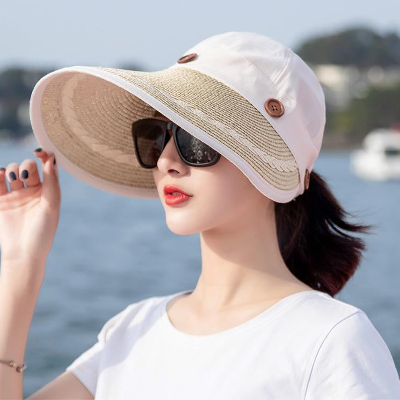 2d94f530d9b715 Sun Hat Ladies Wide Brim Straw Women Wide Large Brim Floppy Summer Beach A Sun  Hat
