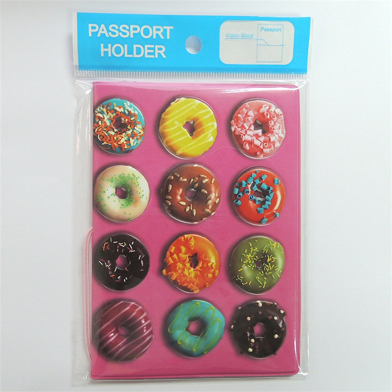 Doughnut Passport Holder For Girls, 3D Design PU Leather Passport Cover For ID Card Holder, Size:14*10CM