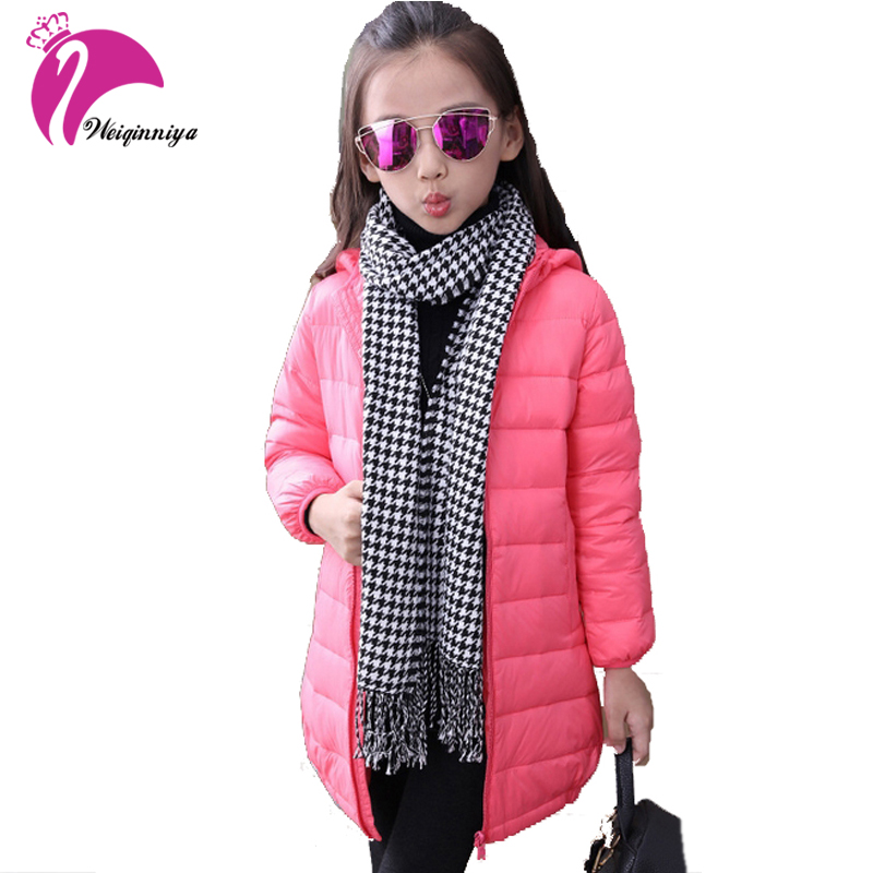 New Fashion Girls Down Cotton Solid Colour Coat Hooded Kids Down Jacket Outwear Children Thick Winter 2016 Kids Warm Coat Unisex 2016 winter dinosaur monster jacket fashion girls boys cotton hooded coat children s jacket warm outwear kids casual wear 16a12