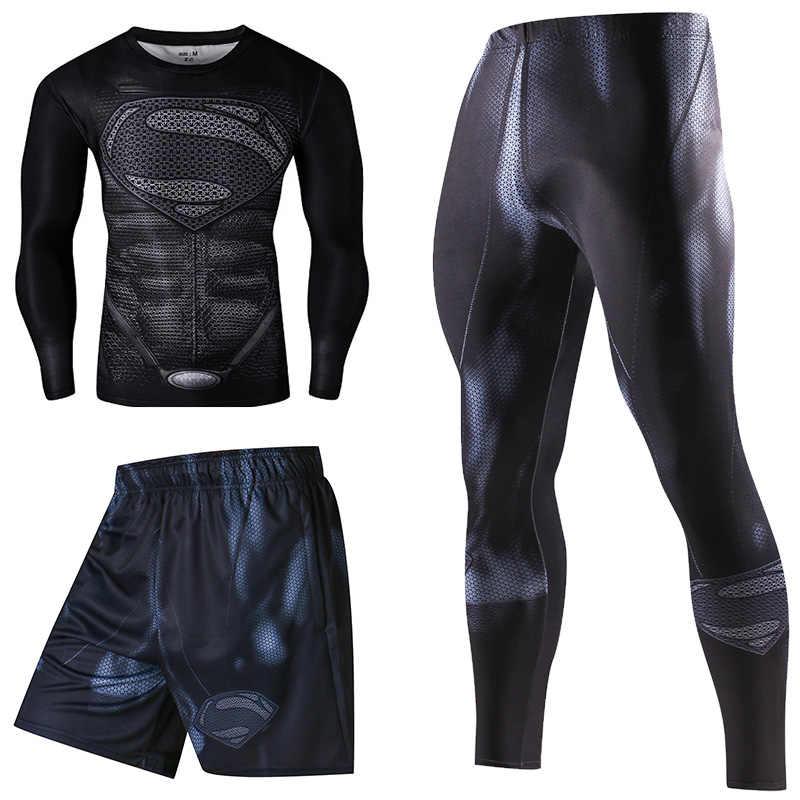 גיבור דחיסת אימוניות גברים של חליפת ספורט מהיר יבש ריצת סטי בגדי ספורט חובבי ריצת אימון כושר כושר איש סט