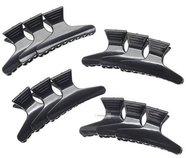 12pcs Black Wide Butterfly Clamps Hair Clips Claw Section Butterfly Salon Hairdressing Hairdressers Styling Tools