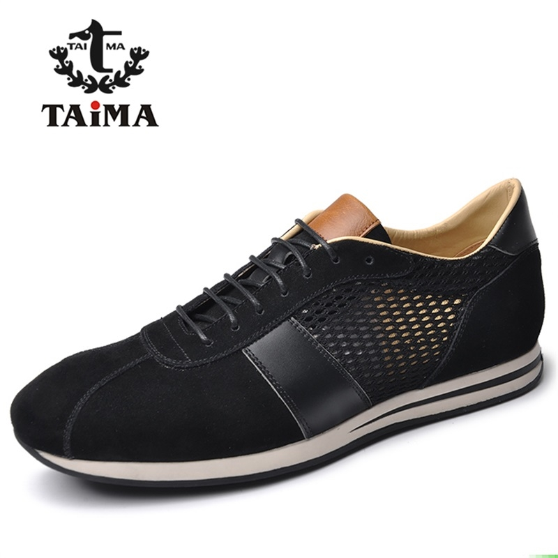 ФОТО New Fashion Men Casual Shoes Top Quality Suede Leather + Mesh Breathable Comfortable Men's Flats Shoes Brand TAIMA 40-45
