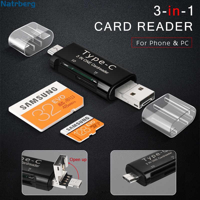 Natrberg Micro Sd Adapter 3 In 1 USB C Kaartlezer Geheugen Sd-kaart Mini TF Lezen Type C geheugen USB-C Voor PC Android Telefoon