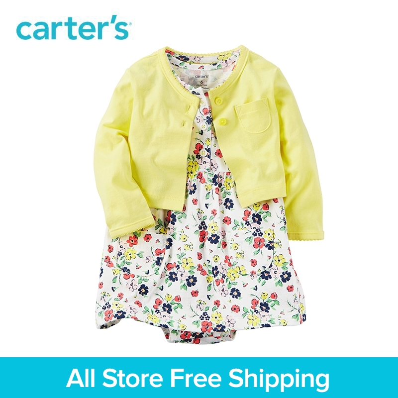 Carter's 2pcs baby children kids Yellow Bodysuit Dress Sets 121H351,sold by Carter's China official store carter s 1 pcs baby children kids long sleeve embroidered lace tee 253g688 sold by carter s china official store