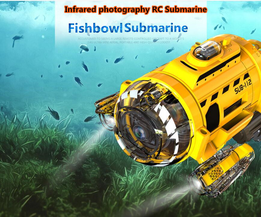 2017 new infrared remote control mini rc submarine 2.4G up to 5M feeding device design fishbowl boat with HD camera LED light