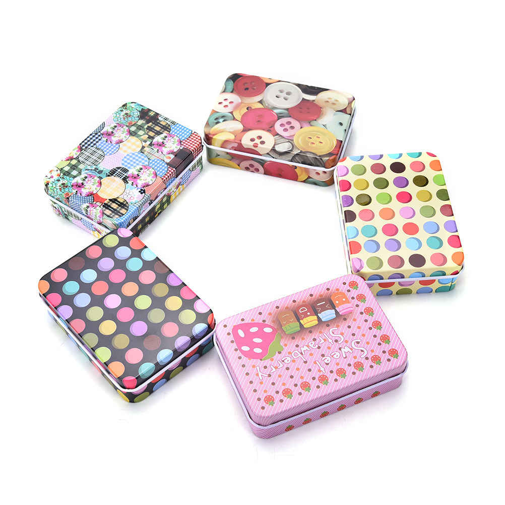 Lovely Mini Vintage Storage Tin Coin Bag Jewelry Box Print Girls Gifts Desk Storage Holder Cosmetic Stationery Organizer
