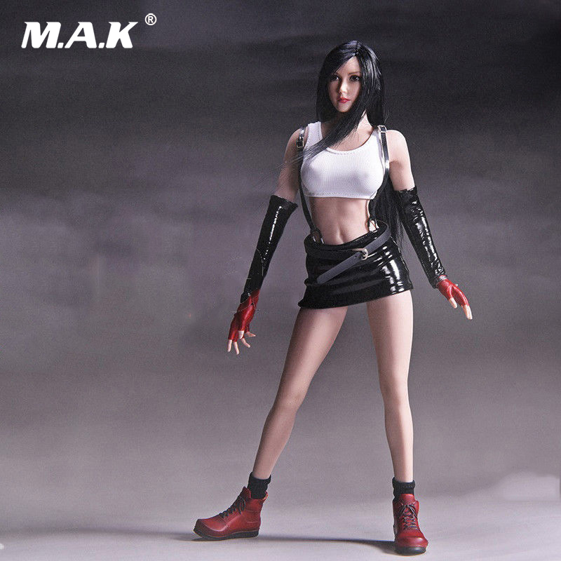 1/6 Scale  Tifa Lockhart Head Sculpt Clothes Set F 12 inches Action Figure Suntan Body 1 6th scale figure accessory iron man headsculpt tony stark head shape for 12 action figure doll not included body and clothes