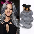 Ombre Ash Grey Color Brazilian Body Wave Human Hair Bundles 3/4Pcs Ombre Dark Grey Hair Weaving Brazilian Virgin Hair Body Wave