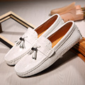 British Style Men's Casual Shoes Genuine Leather Loafers Top Quality Male Moccasins Men Leather Flats Tassel White Black Blue 2A