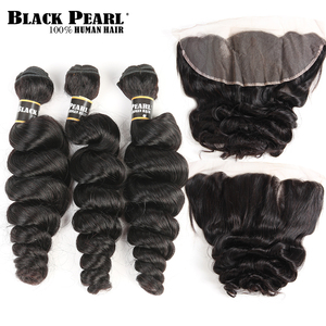 Black Pearl Pre-Colored Brazilian Loose Wave Lace Frontal Closure with Bundles Non Remy 3 Bundles With 13x4 Lace Frontal