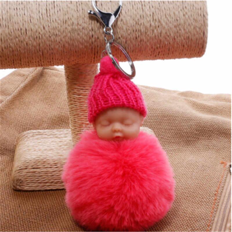 1 PC Moda Bonito Bebê Dormindo Saco chaveiro Boneca Pele De Coelho PomPom Fofo Decoração Chaveiros Jóias Para Mulheres Dos Homens