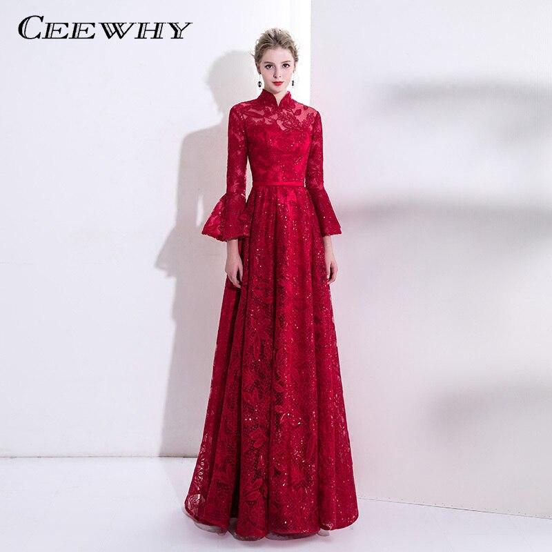 acc0e8e9e9c CEEWHY Винтажные вечерние платья с высоким воротником