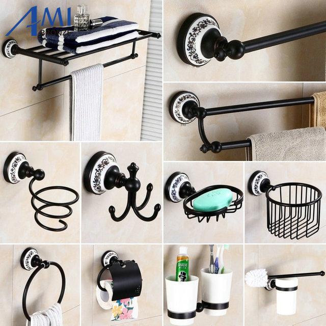 83bp series oil black bronzecopper bathroom accessories towel shelf towel bar paper holder cloth hook soap - Bathroom Accessories Towel Bars