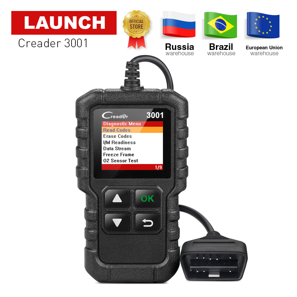 LAUNCH OBD2 EOBD Code Reader Scan tool Creader 3001 Support all 10 test modes of the OBDII CR3001 OBD 2 Scanner pk OM123 AD310 launch direct store x431 easydiag 2 0 obd2 code reader easy diag 2 0 with bluetooth support all cars with 16 pin obd port