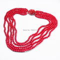 Frete grátis para nova chegada moda Multilayer Red Coral Bead flor colar 6 mm 5 camada
