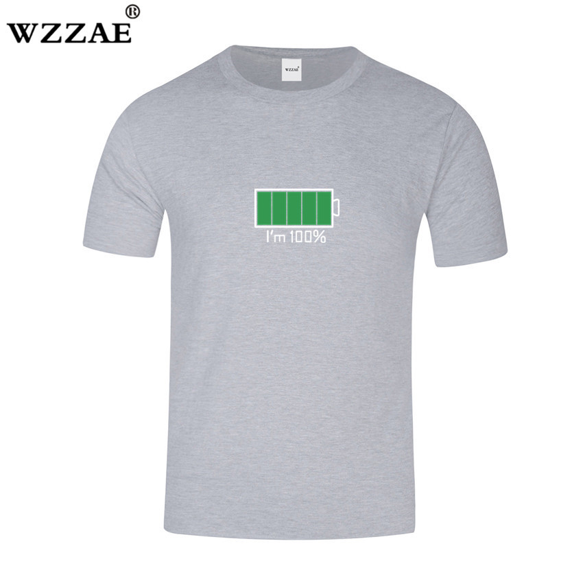 WZZAE 2018 Full Battery Android Creative Men T-shirts Energy Cotton Tee shirt Homme Classic Blouse Fitness Clothes Men's T shirt 2