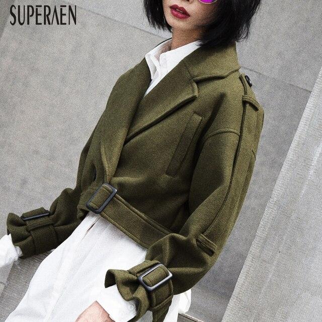 SuperAen 2018 Autumn and Winter New Women Short Woolen Coat Korean Style Wild Lapel Double-breasted  Woolen Coat Female
