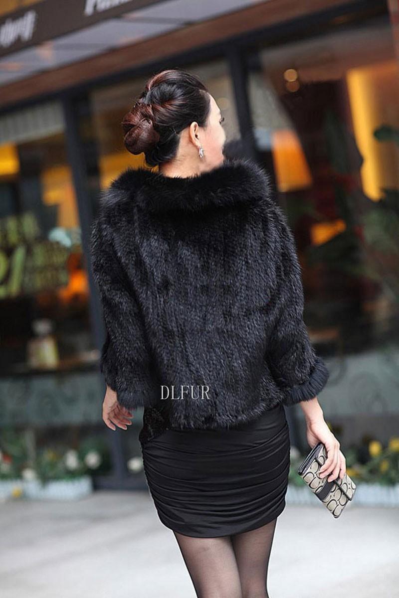 Hot Sale Genuine Mink Fur Shawl With Fox Fur Trim Women Natural Mink Fur Poncho Winter Knitted Mink Fur Jackets DL6235 (11)