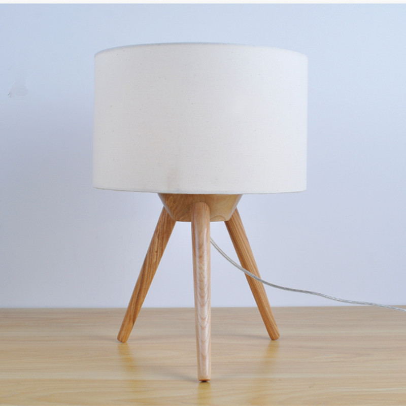 Modern brief creative design wooden table lamp for bedroom&living room desk decor lamp fabric lampshade E27 bulb light decorative table lamp vintage wood plastic rustic style brief modern lampshade living room bedroom 110 220v desk light 1936