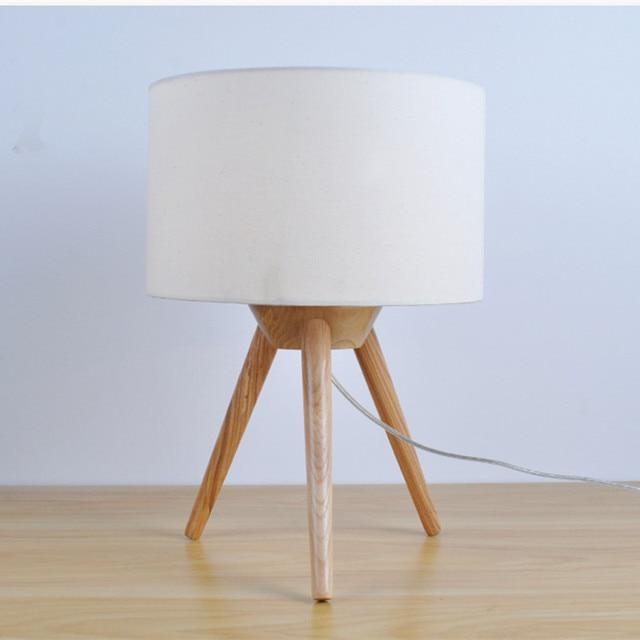 Moderne Kurze Kreatives Design Holz Tischlampe Für Schlafzimmer Und  Wohnzimmer Schreibtisch Dekor Lampe Stoff Lampenschirm E27