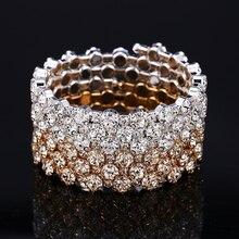 HOCOLE Fashion Crystal Rhinestone Bangle Bracelet Female Wedding Party Jewelry Charm Gold /Silver Metal Bracelets For Women Gift