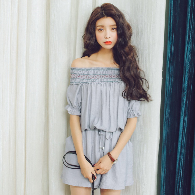 Dropshipping Women Real Sexy Regular Bodysuit Summer 2018 New Sweet Female Off Shoulder Solid Knitted Polyester Jumpsuit