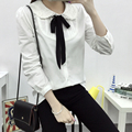 Japonés Mori Chica 2017 nueva Primavera Mujer arco peter pan collor camisa de Moda Casual de manga larga blusa de algodón blanco blusas Tops