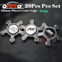 Good quality 20pcs 135MM 5claw black /gray base wheel center Cover for Car Logo Badge Emblem Car Auto wheel hub caps