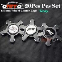 Kaliteli 20 adet 135 MM 5 pençe siyah/gri taban tekerlek merkezi Araba Logo Rozet Amblem Araba Oto tekerlek göbeği için kapak caps