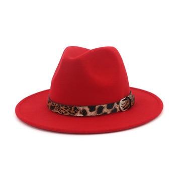 Las mujeres lana hueco occidental Sombrero de vaquero Roll-up de ala ancha vaquera  Jazz ecuestre Sombrero tapa con estampado de leopardo de la cinta AD0822 517a310672ab