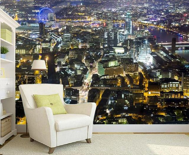 Custom D Mural Wallpaper European Style D Stereoscopic City - City lights wallpaper for bedroom