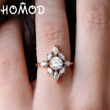 HOMOD Fashion CZ Engagement Rings For Women Rose Gold Wedding Ring Dainty Valantines Gift Girl Romantic Jewelry