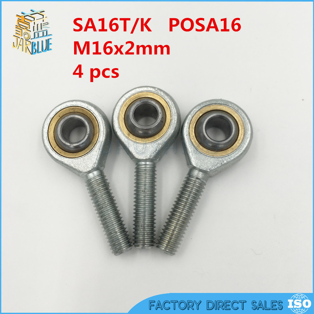 4 pcs/Lot 16mm Male Right Hand Discussion Bearing Rod Common End Thread Metric M16x2.0mm SA16T/K POSA16 M16 4pcs lot 16mm male right hand thread rod end joint bearing metric thread m16x2 0mm sa16t k posa16 m16