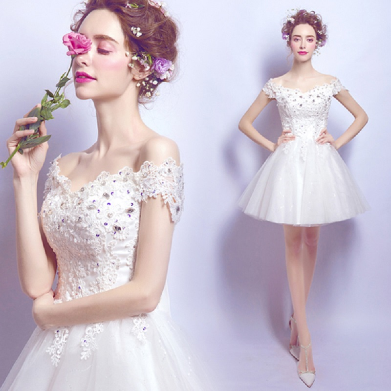 2018 new stock plus size women pregnant bridal wedding party   dress   mini length lace backless tull sexy romantic   Bridesmaid     dress