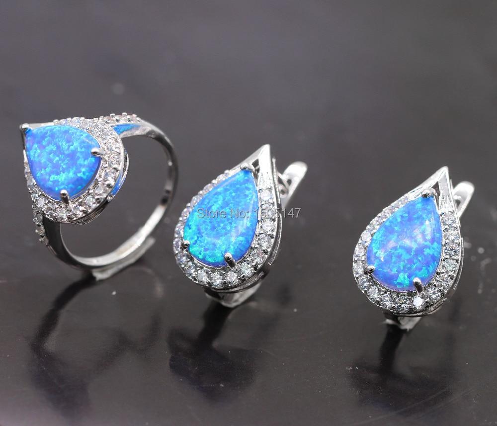 GZJY Fantastický design Šperky Sady Bule Fire Opal Zircon Prsten Náušnice Módní Šperky Sada pro Svatební Výročí Šperky