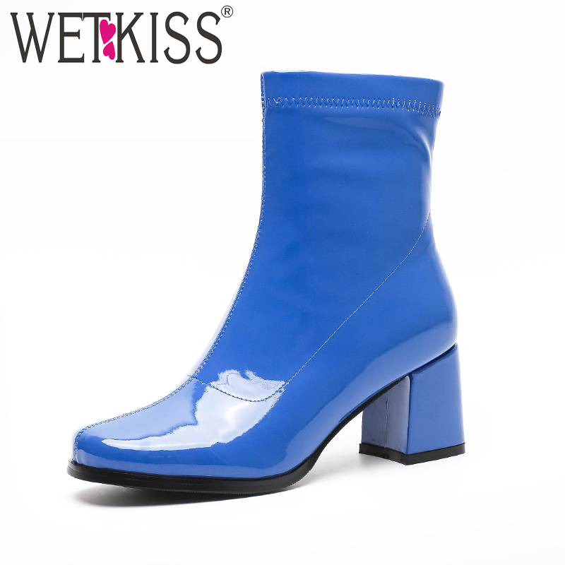 WETKISS Thick High Heels Women Ankle Boots Square Toe Zip Footwear Patent Pu Female Boots Rubber Shoes Woman 2018 Winter NewWETKISS Thick High Heels Women Ankle Boots Square Toe Zip Footwear Patent Pu Female Boots Rubber Shoes Woman 2018 Winter New